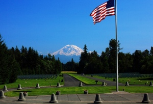 Tahoma National Cemetery, Kent, WA, view of Mt. Rainier