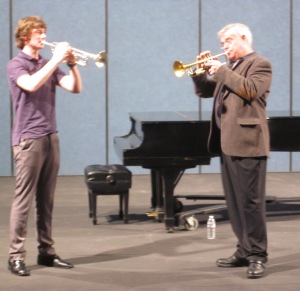 Cole, a junior at Edmonds-Woodway High School, plays with Peter Bond of the Metropolitan Opera Orchestra in New York