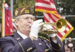 "Glenn Ledbetter, VFW Post 1040 Bugler, sounds ""To the Color."""