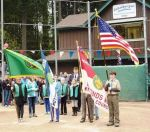 Color Guard in position at home plate; Boy Scouts Troop 312 and Girl Scouts Troop 44018