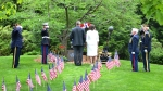 Myra Rintamaki, Gold Star Mothers Club, lays wreath