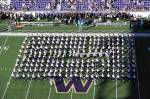 UW Varsity Marching Band enters the field for the half-time show