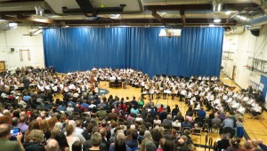NSD 6th Grade Honors Band (right), Choir (center), and Orchestra (left)