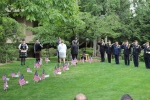 Laying of the Wreath, Chris Szarek and Monica McNeal, at the Boots to Books Memorial, ECC campus