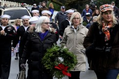 Walking to lay wreaths on graves at VC, E-W (2)