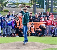 Stephanie Wright, PLL parent and Snohomish County Councilmenber, throws out the first pitch