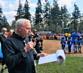 Chris Ingalls, Master of Ceremonies during Parade of Players onto Harry H. Moore Field, Pacific Little League Day, Lynnwood