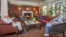 The Fireside Lounge, restored to its usual warm, comfortable setting