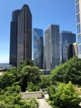 View from courtyard between Skyline Towers and Skyline Terraces in downtown Seattle