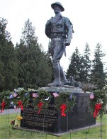 Doughboy statue, placed here in 1998--80 years after the WWI Armistice