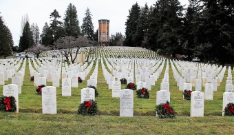 Toward 65-ft Chimes Tower, Veterans Cemetery, Evergreen-Washelli, Seattle