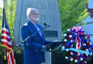Edmonds Mayor Dave Earling re-dedicates the Apollo 11 Monument