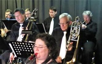 Debbie Dawson, trumpeter (R), takes a solo